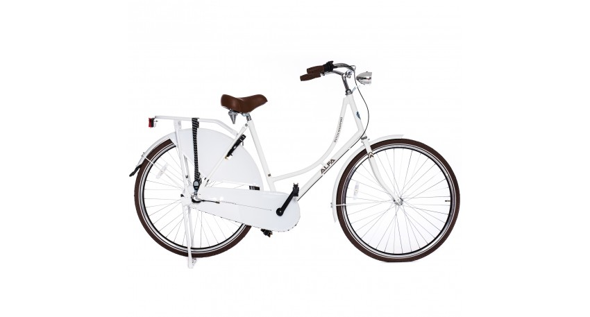 ALFA DUTCH Shopping Omafiets 28 inch / 53cm - 3 SP Wit + GRATIS SLOT